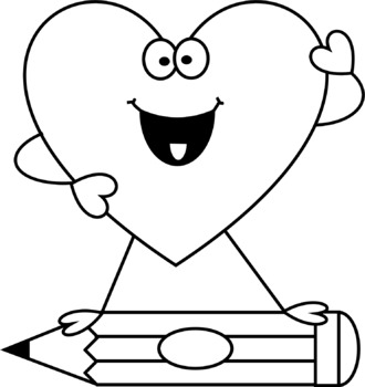 Heart People with a Pencil Clip Art