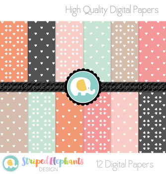 Heart Pink, Orange and Mint Digital Papers