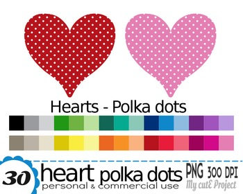 Heart Polka dots | Clipart | 30 png files | Scrapbooking Clip art | CA12