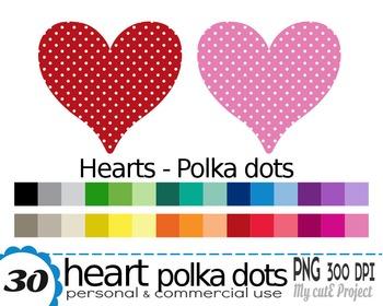 Heart Polka dots | Clipart | 30 png files | Scrapbooking C