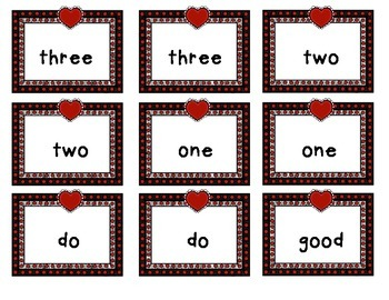 Heart Pre-Primer Sight Words: Go Fish or Memory