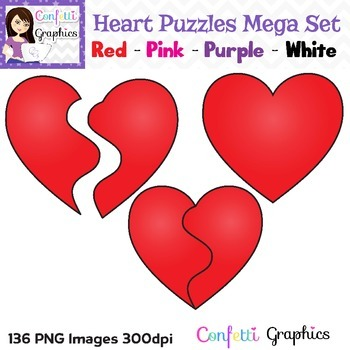 Heart Puzzle Mega Clip Art Set  136 Png Digital Images Red, Pink, Purple & White