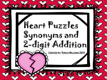 Heart Puzzles Synonyms and 2 Digit Addition