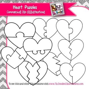 Heart Puzzles clip art