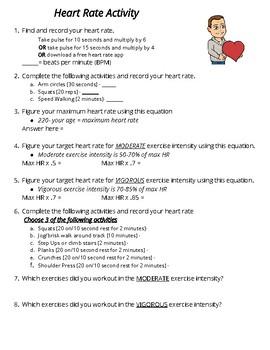 Heart Rate Activity Sheet