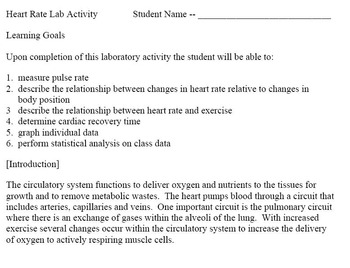 Heart Rate (Pulse) Lab Activity