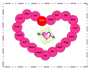 Heart- Roll and Write Sight Word Game