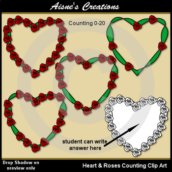 Heart & Roses Counting Clip Art