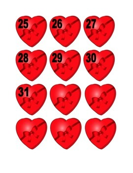 Heart Shaped Candy Box With Ribbon Numbers for Calendar or Counting Activity