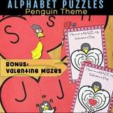 Valentine's Day Letter Match Puzzle - Penguin Theme - Includes Valentine Mazes