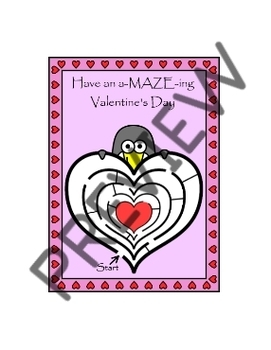 Valentine's Day Letter Match Puzzle - Penguin Theme - Includes Valentine Mazes