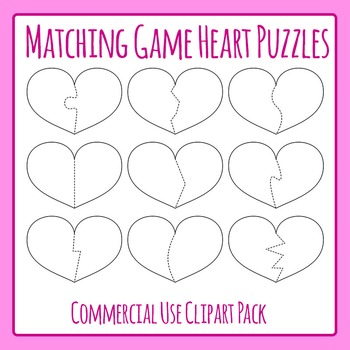 Heart Shaped Puzzle Templates for Matching Games Commercial Use Clip Art Pack