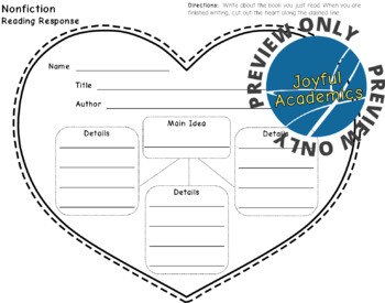 Heart-Shaped Reading Response Sheets