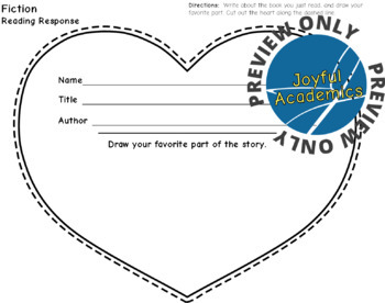 Heart Shaped Reading Response Sheets for Any Book