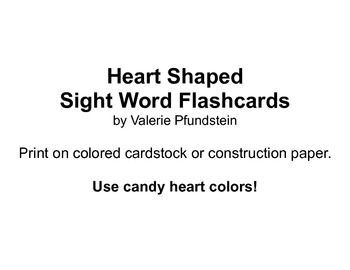 Heart Shaped Sight Word Flash Cards
