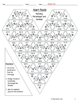 Heart Shaped Triangle Puzzle - Converting between Percentages and Decimals