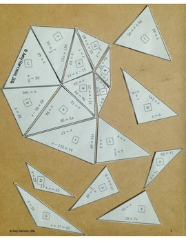 Heart Shaped Triangle Puzzle - Solving One-Step Equations with Positive Numbers