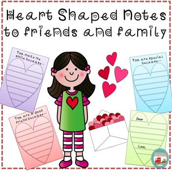 Heart Shaped Valentine Notes/ Paper for Family and Friends