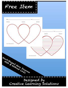 Valentine Heart-Shaped Venn Diagram in Color - Full Page Graphic Organizer