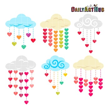 Heart Shower Clip Art - Great for Art Class Projects!