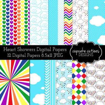 Heart Showers and Clouds Rainbow Digital Paper Pack Set