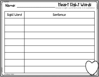 Heart Sight Word Center