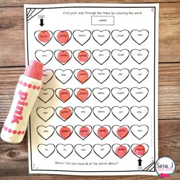 Heart Sight Word Mazes