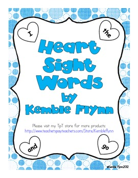 Heart Sight Words for Mini Offices
