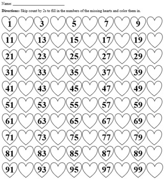 Heart Skip Counting Color and Fill in the Blank (2s-10s) [Valentine's Day]