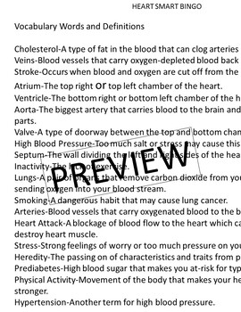 Heart Smart Bingo