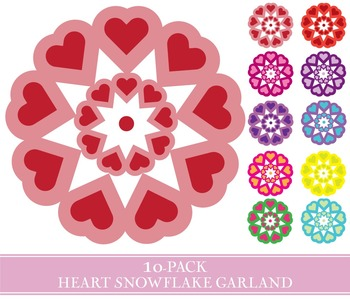 Heart Snowflake Garland - 10-Pack