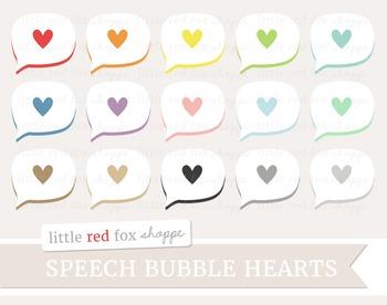 Heart Speech Bubble Clipart; Thought, Talk, Cloud