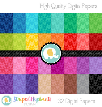 Heart Squares Digital Papers