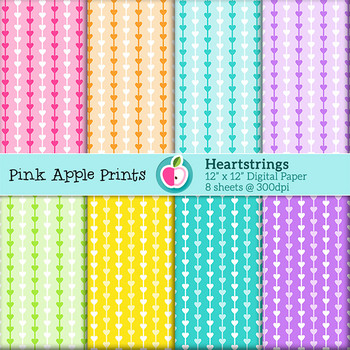 Heart Strings Style Digital Papers Set: Graphics for Teachers
