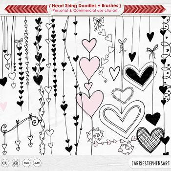 Heart Strings Digital Stamps - Png Heart ClipArt - Valentine Doodles