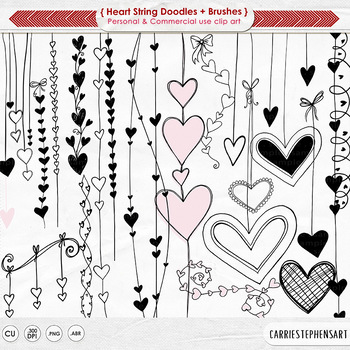 Heart Strings Digital Stamps - Png Heart ClipArt - Valenti