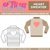 Heart Sweater Clipart Single   Digital Use Ok!
