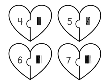 Heart Tally Puzzles 0-20 FREEBIE