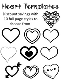 Heart Template for Art Project  Heart Outline Heart Sheet Valentines Day Heart