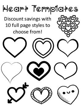 It is an image of Enterprising Heart Outlines Printable