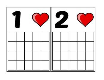 Heart Ten Frame Activity (Numbers 1-20)