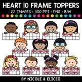 Heart Ten Frame Kid Toppers Clipart