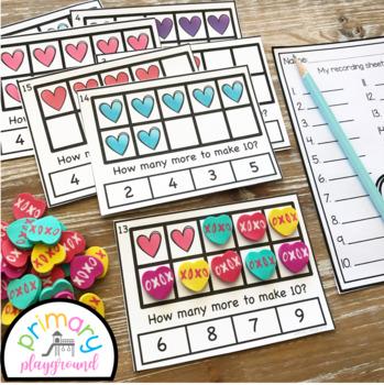 Heart Ten Frame Task Cards Center