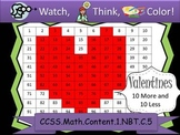 Heart Ten More/Ten Less - Watch, Think, Color Game! CCSS.1.NBT.C.5