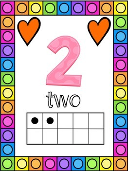 Heart Themed 0-20 Numbers Posters
