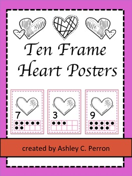 Heart Themed 10 Frame Counting Pack--Preschool, Kindergarten, 1st