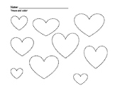 Heart Themed Counting, Color Recognition, and Prewriting Activities