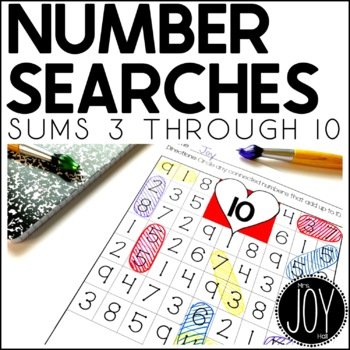 Heart Themed Number Searches for Sums 3-10