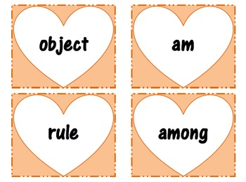 Heart Themed Sight Word Cards (First 500 Fry list)