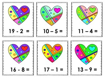 Heart Themed Subtraction and Scrambled Sentences